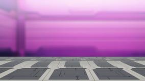 Таблица научной фантастики крупного плана верхняя с футуристической иллюстрацией предпосылки 3d нерезкости космического корабля иллюстрация штока