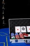 таблица покера обломоков карточек Стоковая Фотография RF