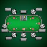 Таблица покера с стульями и карточками откалывает шаблон ярлыков игрока Стоковые Изображения RF