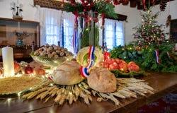 Таблица рождества с хлебом Стоковые Фото