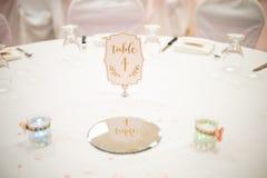 Таблица свадьбы готовая для обедающего Стоковое фото RF