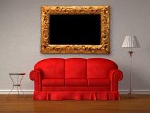 таблица софы античного светильника рамки красная Стоковая Фотография RF