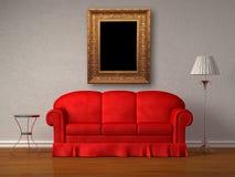 таблица стойки софы античного светильника рамки красная Стоковая Фотография