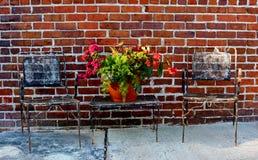 Таблица с цветками на улице стоковое изображение rf
