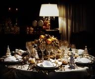 таблица украшенная рождеством обедая Стоковая Фотография