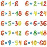 Таблица умножения 6 Стоковое Изображение
