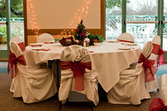 таблица установки рождественской вечеринки Стоковые Фотографии RF