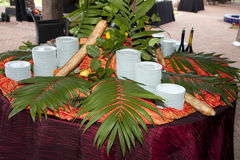 таблица установки шведского стола завтрака-обеда закуски Стоковые Изображения