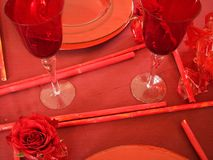 таблица установок места вечера Стоковые Изображения