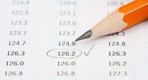таблица фото карандаша nimbers Стоковые Фото