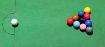 Таблица шариков биллиардов Стоковая Фотография