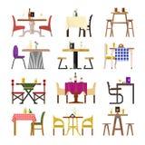 Таблицы кафа в установке ресторана vector обедать таблица и стул мебели на романтичная дата обедающего обеда в столовой Стоковое Изображение RF