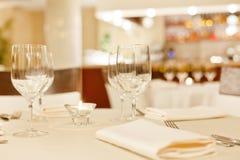 Таблицы установили для еды Стоковая Фотография