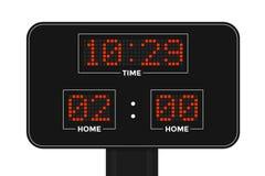 Табло приведенное спорт электронное Счет, время, период стоковые фото