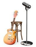 табуретка и микрофон электрической гитары 3D Стоковые Изображения