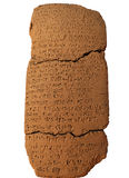 Таблетка глины с клинописным сочинительством Стоковое Фото