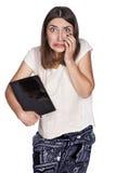 Таблетка молодой женщины Стоковое фото RF