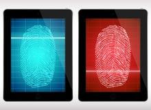 Таблетка скеннирования отпечатка пальцев - иллюстрация Стоковые Изображения