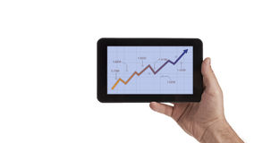 Таблетка с диаграммой фондовой биржи на дисплее Стоковое Изображение