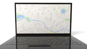 Таблетка с картой на экране Стоковые Фото