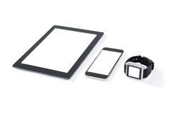Таблетка цифров, мобильный телефон и умный вахта стоковая фотография