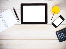 таблетка экрана икон компьютера установленная над взглядом Стоковая Фотография RF
