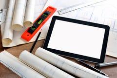 таблетка экрана икон компьютера установленная Стоковое фото RF