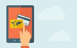 Таблетка экрана касания с значком кредитной карточки Стоковое Фото