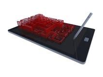 таблетка 3Ds с игрой лабиринта Стоковые Фото