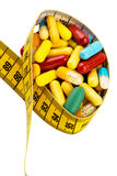 Таблетки и измеряя лента Стоковые Фото