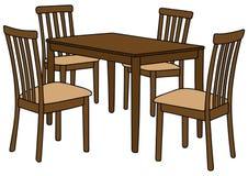 Таблица и стулья Стоковые Изображения RF