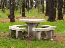 Каменные таблица и benchs в парке Стоковые Фото