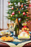 таблица комплекта обеда рождества Стоковая Фотография