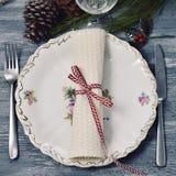 таблица комплекта обеда рождества Стоковые Изображения