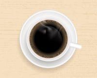 таблица кофейной чашки деревянная Иллюстрация вектора взгляд сверху Стоковое фото RF