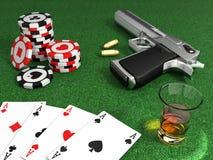 Таблица покера гангстера Стоковое Изображение
