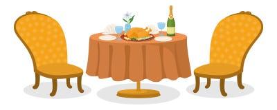 Таблица при изолированная еда, иллюстрация штока