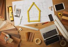 Таблица работы архитектора и дизайнера по интерьеру Стоковые Изображения RF