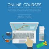 Таблица рабочего места иллюстрации онлайн образования плоская Стоковая Фотография RF