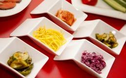 Таблица 2 съемки ресторана foode плиты салата Стоковое Изображение RF