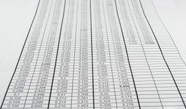 Таблица с номерами Стоковое Изображение RF