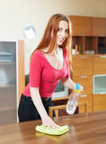 Таблица чистки девушки с cleanser и ветошью Стоковая Фотография