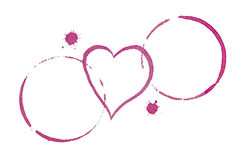 Таблица для 2 концепций датировка пятен и сердца вина Стоковое фото RF