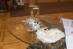 Таблица для полотенца караванов свадебной церемонии приобъектного Стоковое Изображение RF