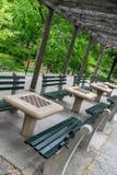 Таблицы шахмат Нью-Йорка Central Park Стоковое фото RF