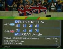 Табло после людей тенниса определяет финальный матч на суде Марии Есфири Bueno Рио 2016 Олимпийских Игр на олимпийском Tenni Стоковая Фотография