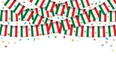 Таджикистан сигнализирует предпосылку гирлянды белую с confetti, овсянкой вида на таджикский День независимости иллюстрация вектора