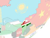 Таджикистан с флагом иллюстрация вектора