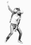 Тазобедренные танцы девушки танцора хмеля изолированные на белой предпосылке Стоковые Фото