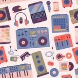 Тазобедренный хмель или музыкант DJ вспомогательное breakdance аппаратур выразительное иллюстрация вектора